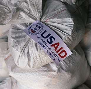 Sacks containing humanitarian aid are pictured at a warehouse near the Tienditas cross-border bridge between Colombia and Venezuela