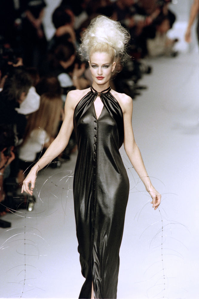 Dutch Model Karen Mulder Presents a Creation for Fashion House Karl Lagerfeld in Paris, 1995