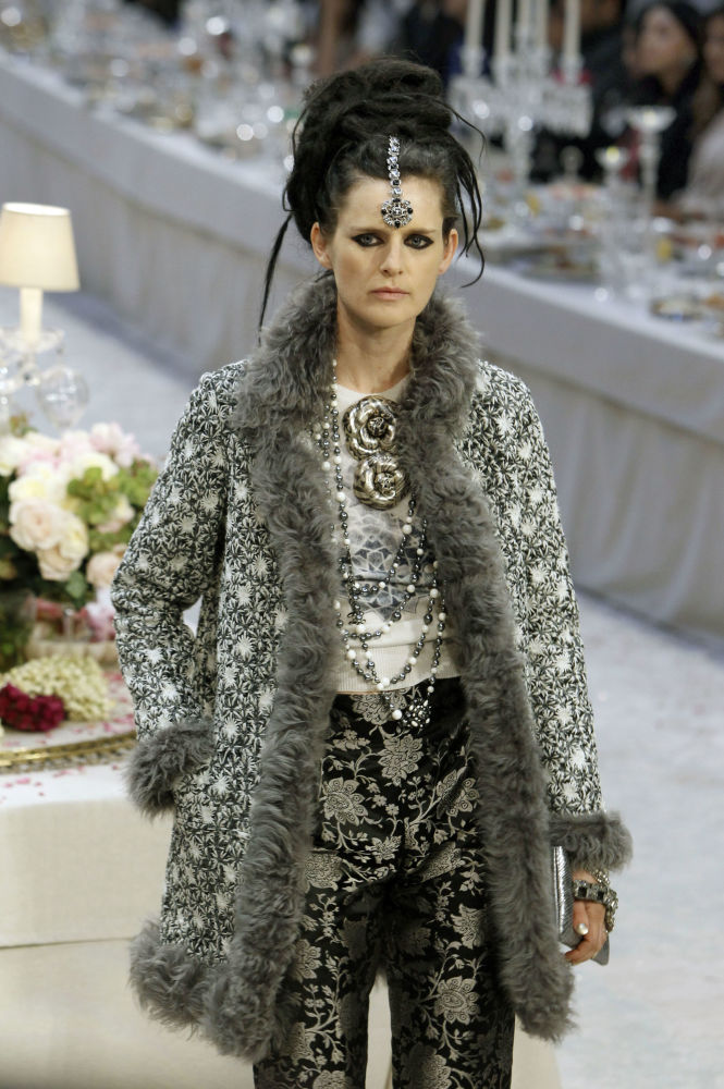 British Model Stella Tennant Presents a Creation for Fashion House Chanel in Paris , 2011