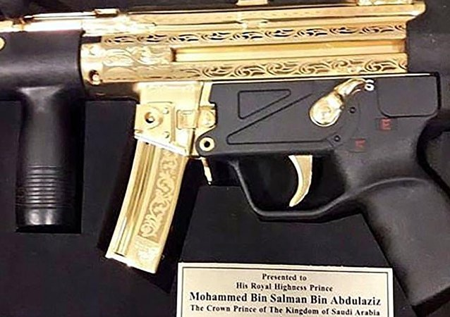 Pakistani senators gave bin Salman this gold-plated gun