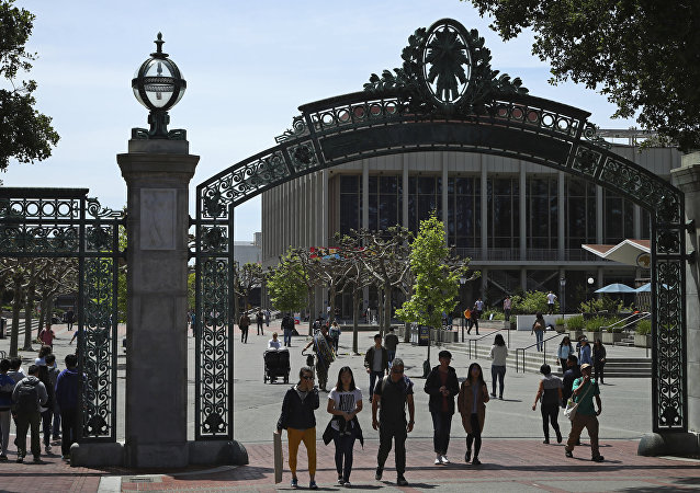 Sather Gate on the University of California at Berkeley campus in Berkeley, California