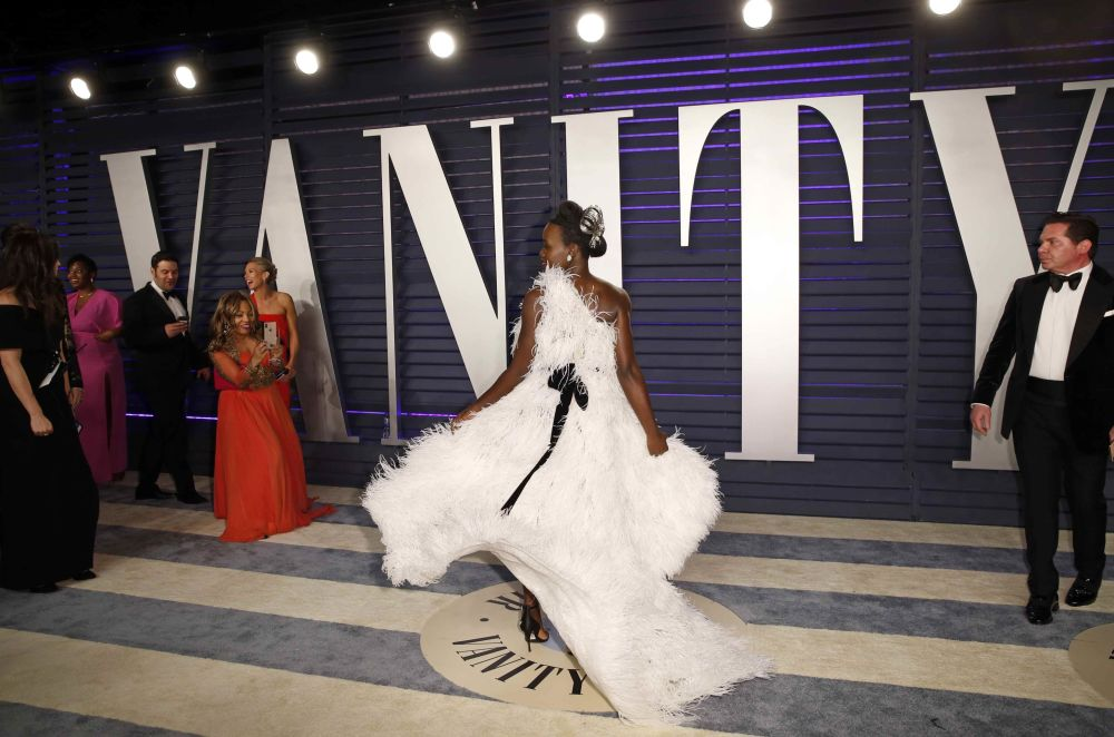 Actress Lupita Nyong'o arrives at the 2019 Vanity Fair Oscar Party