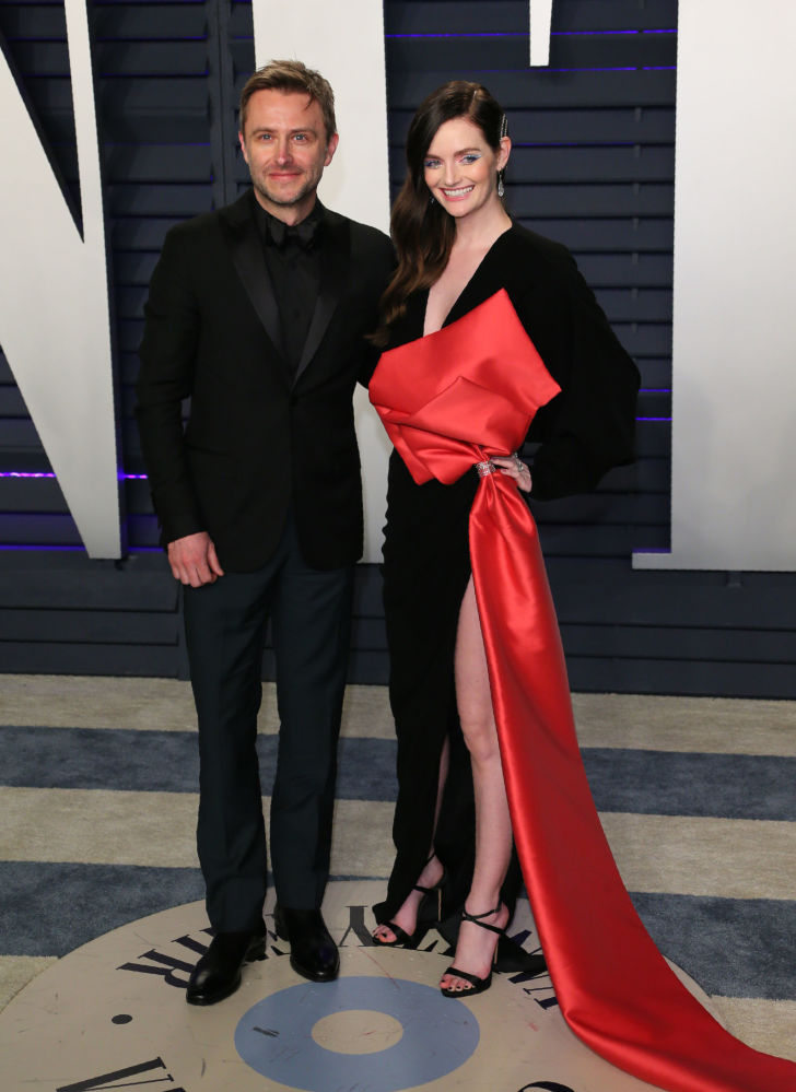 Actress/model Lydia Hearst and husband Chris Hardwick attend the 2019 Vanity Fair Oscar Party
