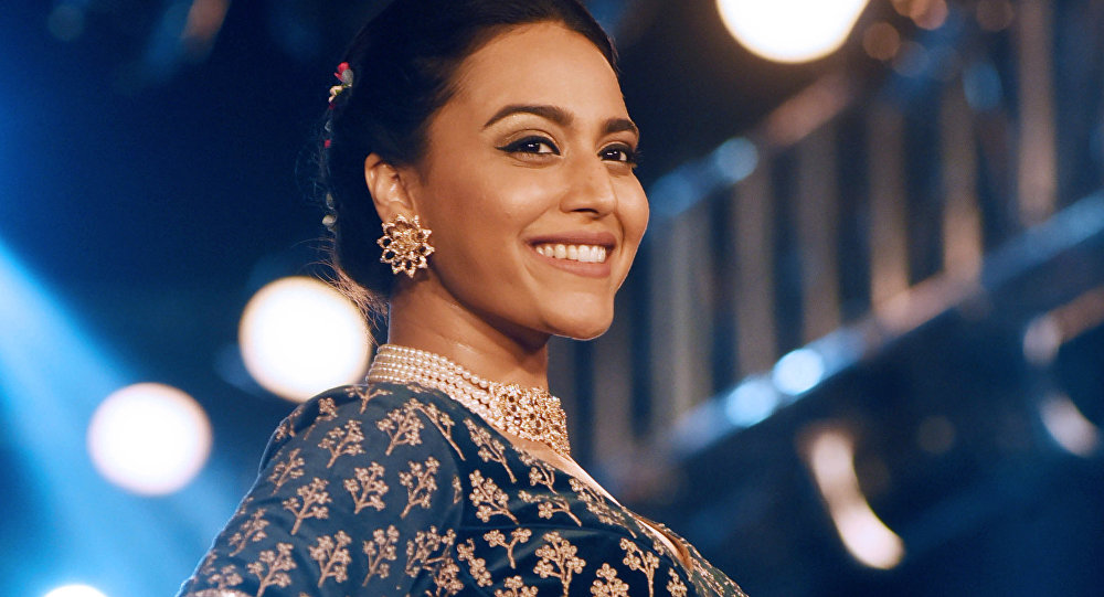 Indian Bollywood actress Swara Bhaskar showcases for a creation by designer Richa Malkani during the second season of The Wedding Junction Show, in Mumbai on October 26, 2018