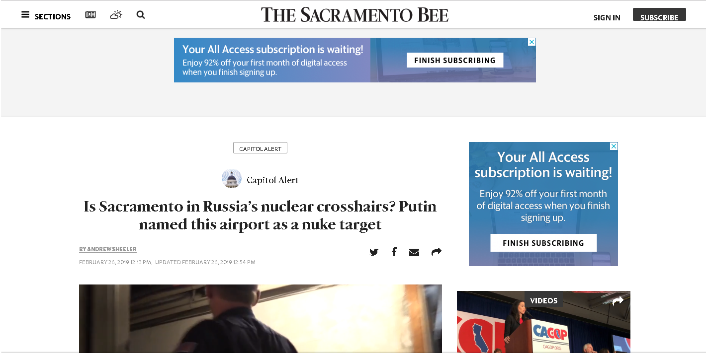 Screengrab of the Sacramento Bee story.