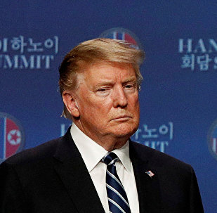 U.S. President Donald Trump is seen during a news conference after Trump's summit with North Korean leader Kim Jong Un, at the JW Marriott Hotel in Hanoi, Vietnam February 28, 2019