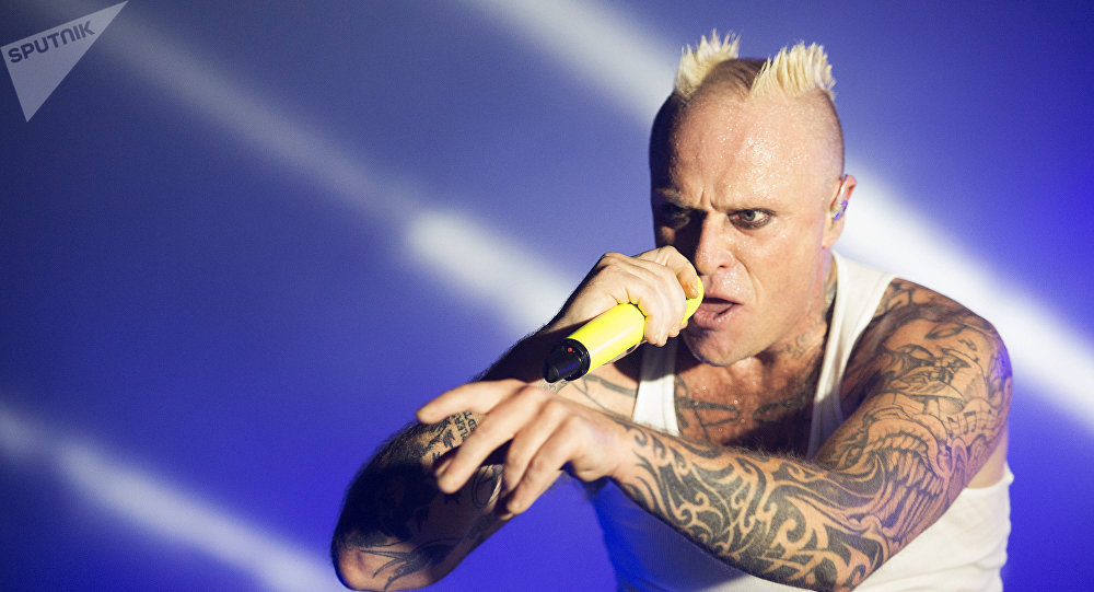 The Prodigy front man Keith Flint performs at a gig in Moscow