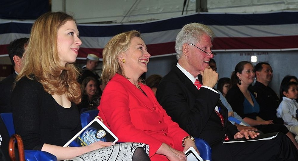 Chelsea Clinton, left, Secretary of State Hillary Rodham Clinton and former U.S. President William Jefferson Clinton