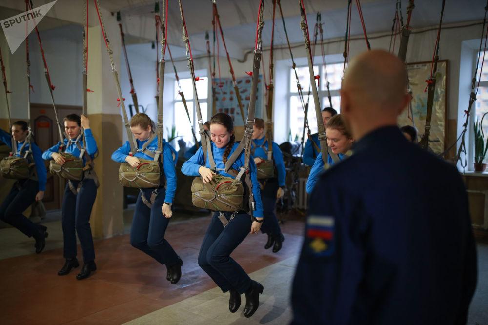 Cadets of Krasnodar Aviation High Military School Attend the Parachute Training Class in Krasnodar, Russia