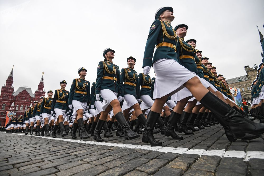 Military Servicemen During General Rehearsal of the Military Parade at Red Square, Moscow