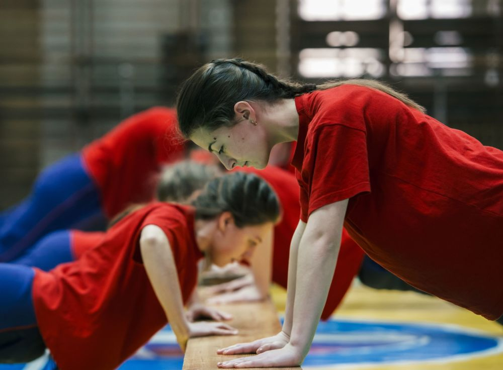 Female Cadets Attend a Physical Training Class at Military-Space Academy in Saint Petersburg