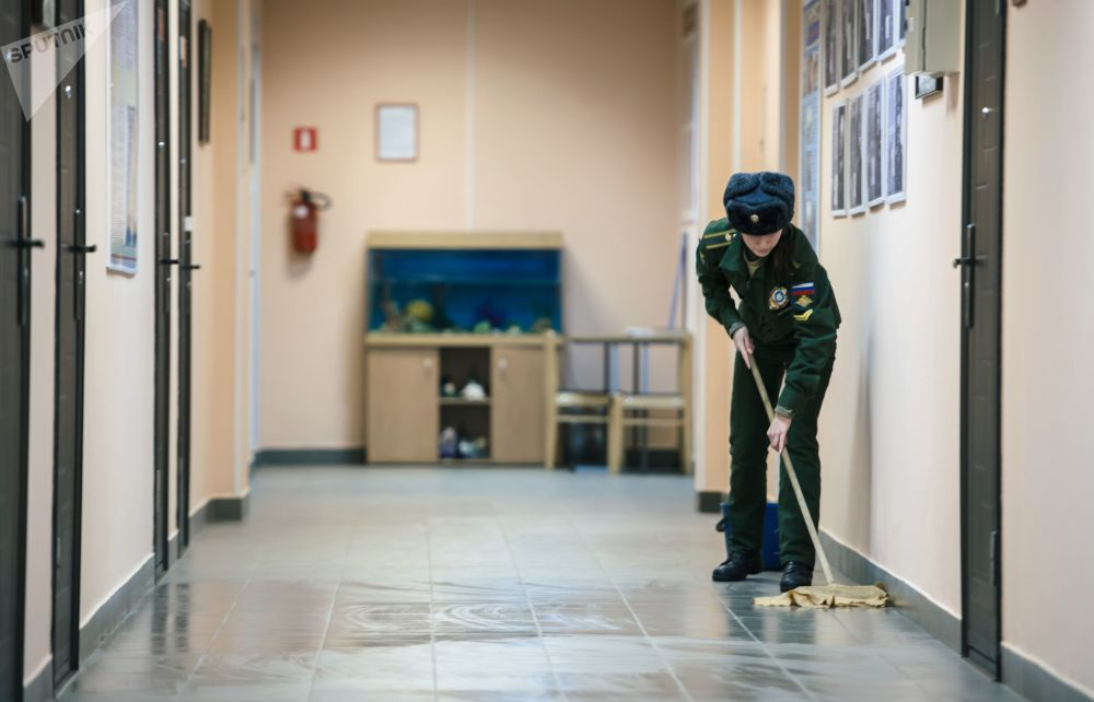 Female Cadet Cleans Floor at the Residential Halls of A.F. Mozhaysky Military-Space Academy