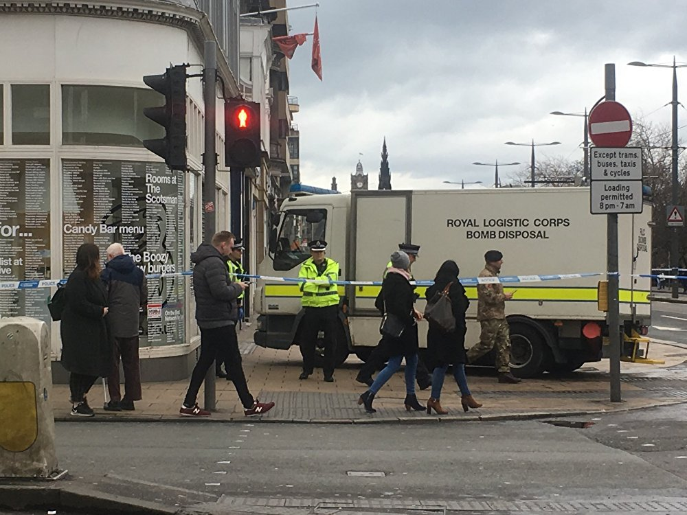 Prince's Street in Edinburgh cordoned off by the police.