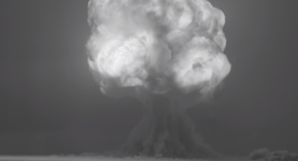 A screenshot from restored footage of the Trinity test, the world's first nuclear weapons explosion, on July 16, 1945
