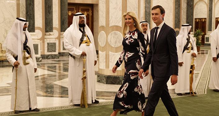 In this Saturday, May 20, 2017, file photo, White House senior adviser Jared Kushner, right, walks with Ivanka Trump at the Royal Court Palace, in Riyadh, Saudi Arabia.