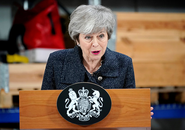 British Prime Minister Theresa May delivers a speech during her visit in Grimsby, Lincolnshire, Britain March 8, 2019.
