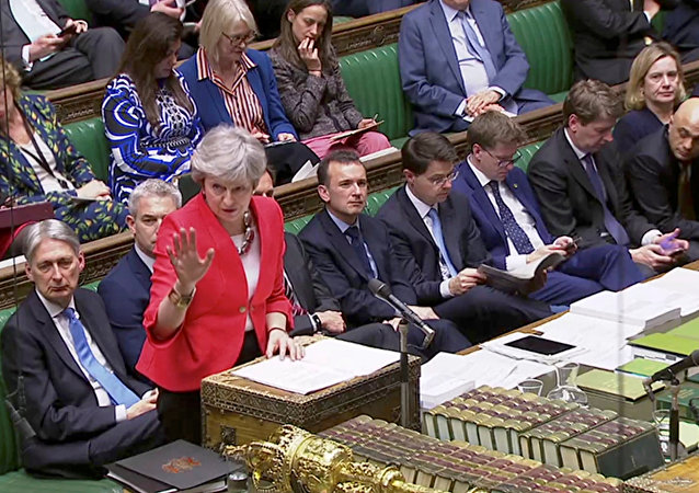 Britain's Prime Minister Theresa May speaks in Parliament in London, Britain, March 12, 2019, in this screen grab taken from video