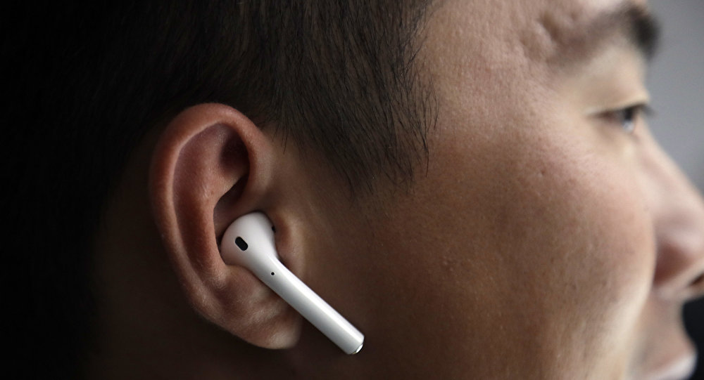 The new Apple AirPods are demonstrated during an event to announce new products on Wednesday, Sept. 7, 2016, in San Francisco. (AP Photo/Marcio Jose Sanchez)