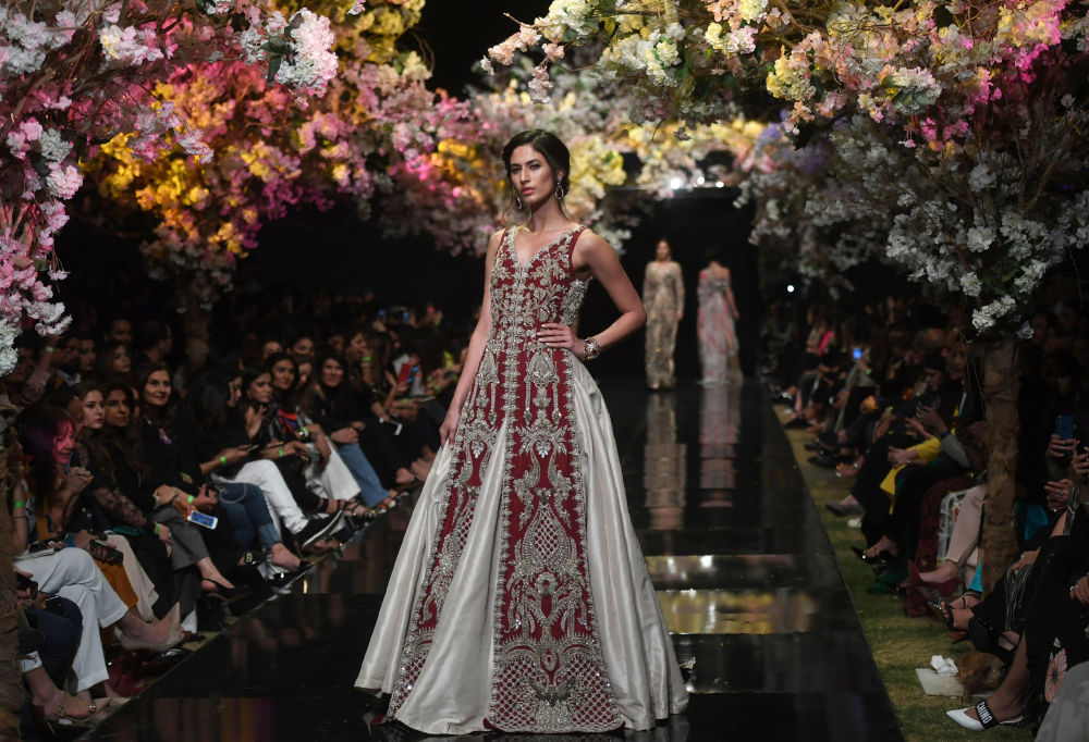 Models Present Creation by Pakistani Designer Sana Safinaz During Fashion Pakistan Week
