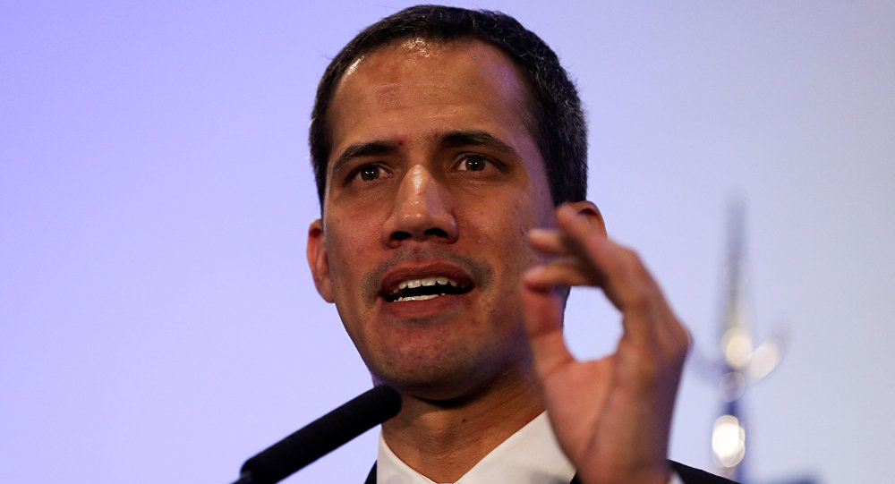 Venezuelan opposition leader Juan Guaido, who many nations have recognized as the country's rightful interim ruler, gestures during a news conference at the San Martin Palace in Buenos Aires, Argentina March 1, 2019
