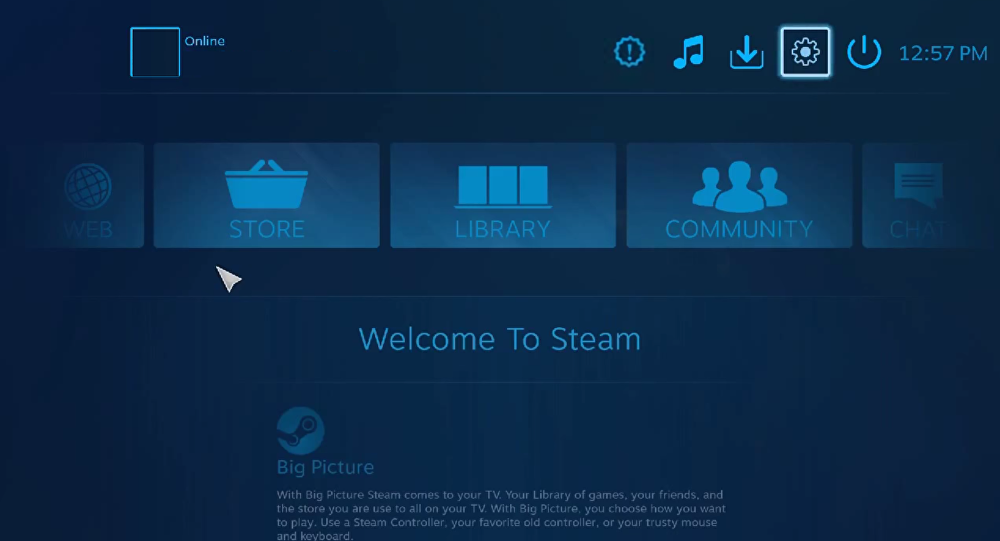 Default home screen for SteamOS