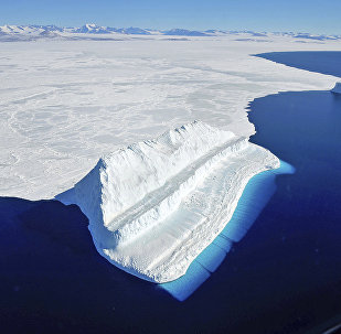 The frigid Antarctic region is an expanse of white ice and blue waters, as pictured in March, 2017, at the U.S. research facility McMurdo Station