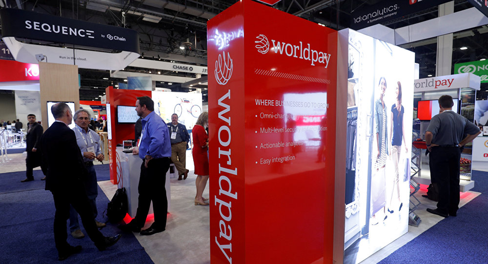 A Worldpay booth is shown on the exhibit hall floor during the Money 20/20 conference in Las Vegas