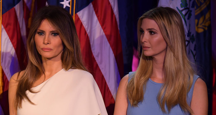 Melania Trump (L) and Ivanka Trump look on as Republican presidential elect Donald Trump speaks during election night at the New York Hilton Midtown in New York on November 9, 2016.