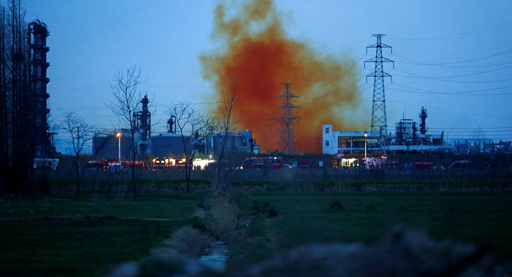 Smoke billows from the pesticide plant owned by Tianjiayi Chemical following an explosion, in Xiangshui county, Yancheng, Jiangsu province, China March 22, 2019.