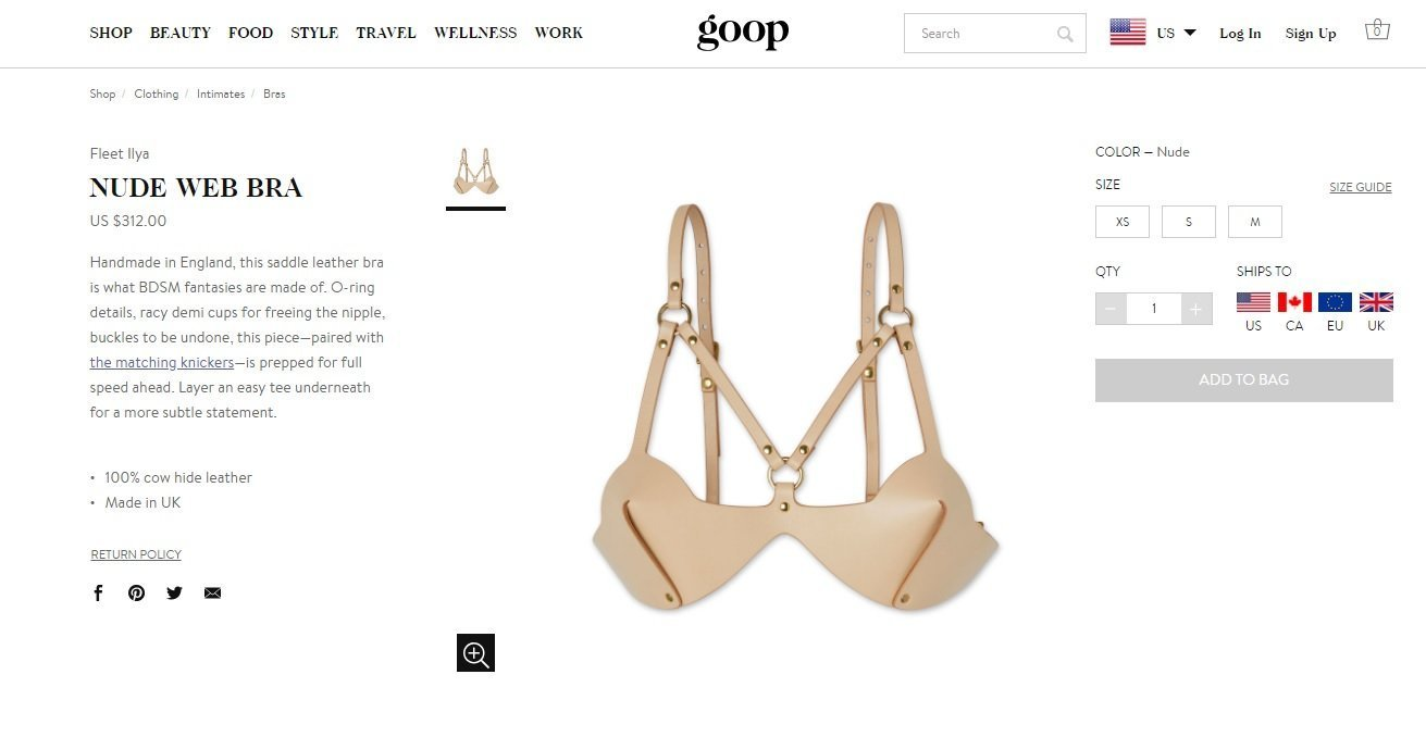 A screen from the Goop webpage displaying the nude web bra