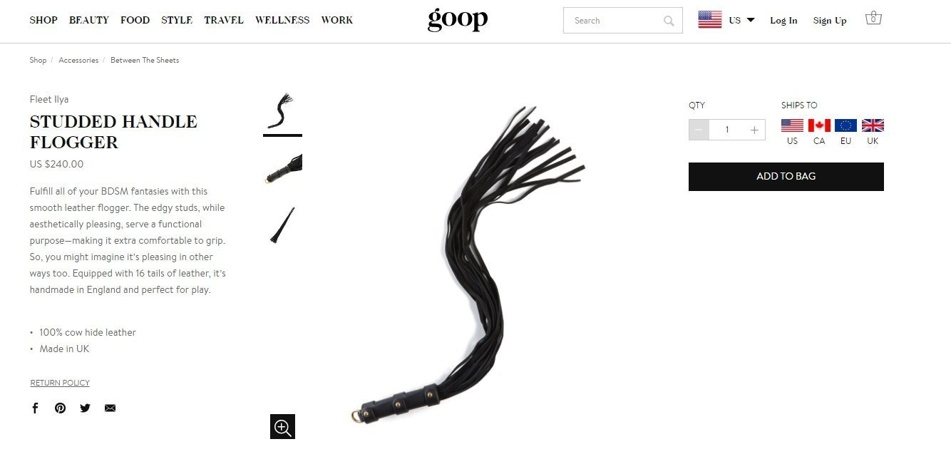 A screen from the Goop webpage displaying the studded handle flogger