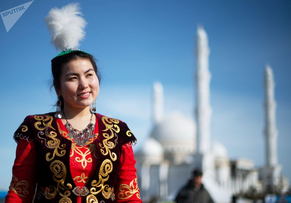 A Girl Wearing a National Outfit During Celebrations of Nowruz at Independence Square in Nur-Sultan