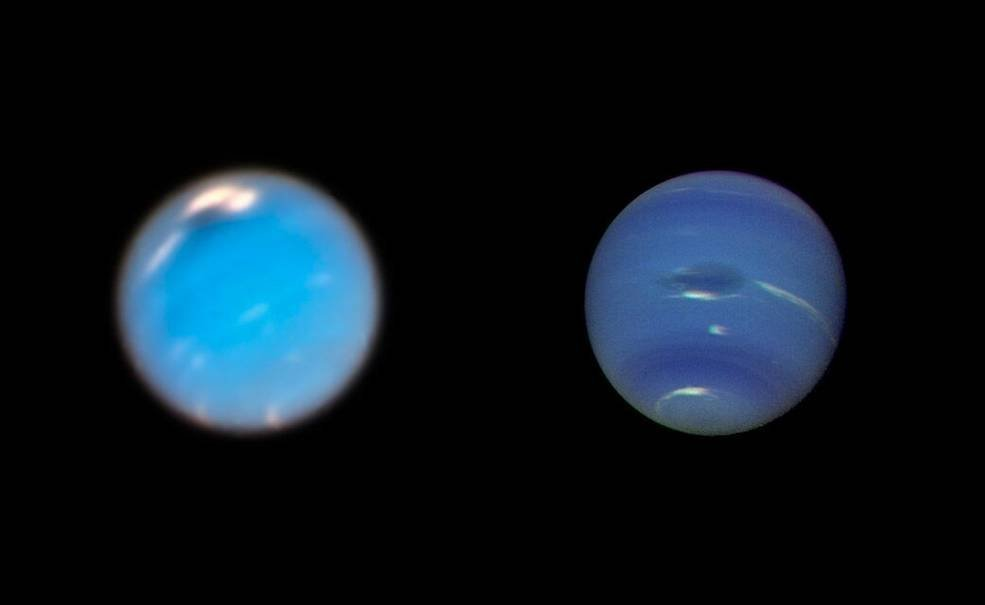 This is a composite picture showing images of storms on Neptune from the Hubble Space Telescope (left) and the Voyager 2 spacecraft (right)