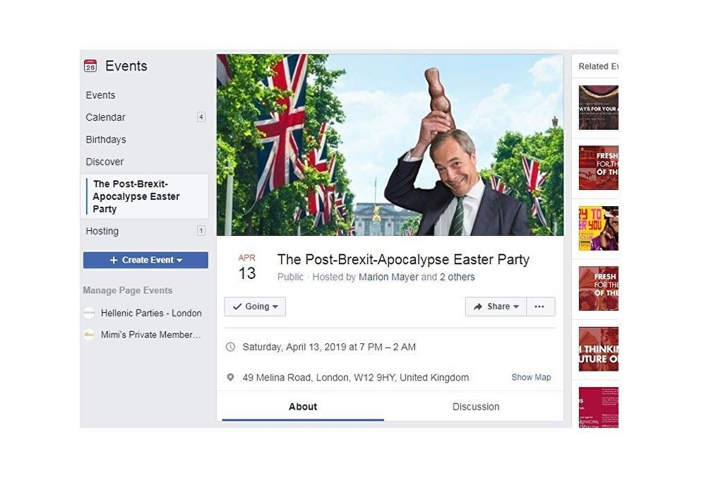 'The Post-Brexit-Apocalypse Easter Party' Facebook event