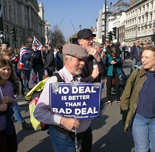Protesters rally against delay of the Brexit process in London, UK on 29 March 2019