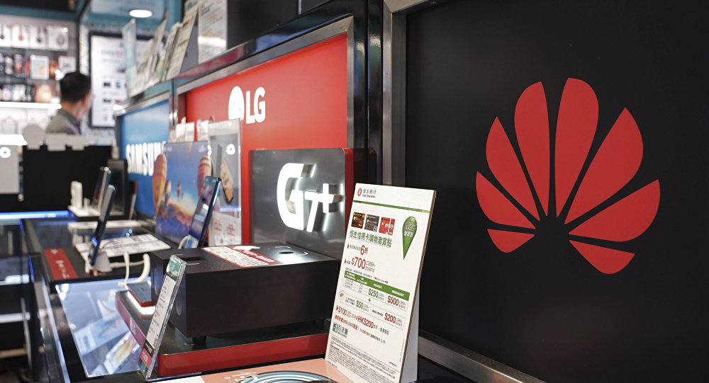 A logo of Huawei is displayed at a electronic retail shop in Hong Kong, 29 March 2019.