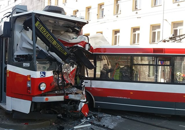 A trolleybus and a tram collided head-on