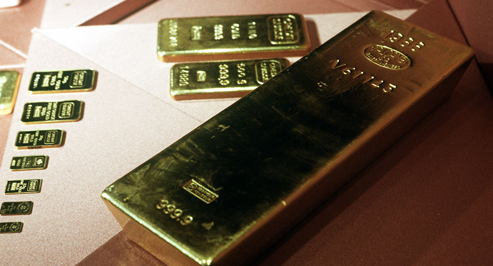 Gold bars of various sizes.