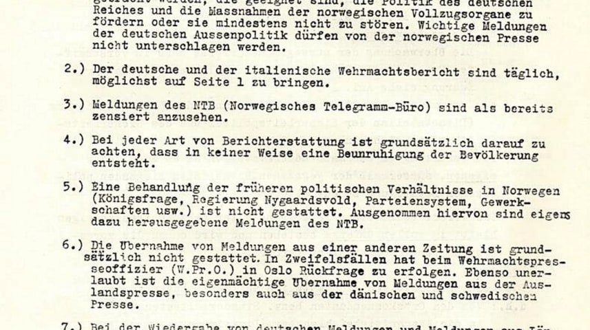 A facsimile of a German document which details how the Norwegian press was to be handled under the Nazi occupation, as it appears in the booklet found in the National Library of Israel