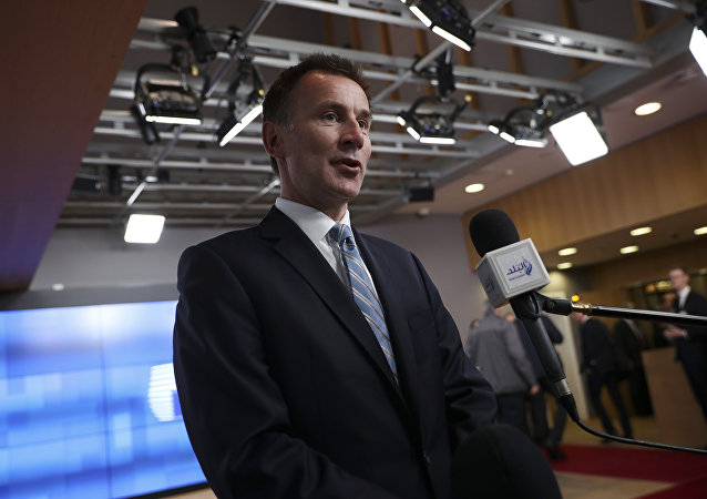 British Foreign Secretary Jeremy Hunt speaks with the media as he arrives at an EU Foreign Ministers' meeting at the European Council headquarters in Brussels, 18 February 2019
