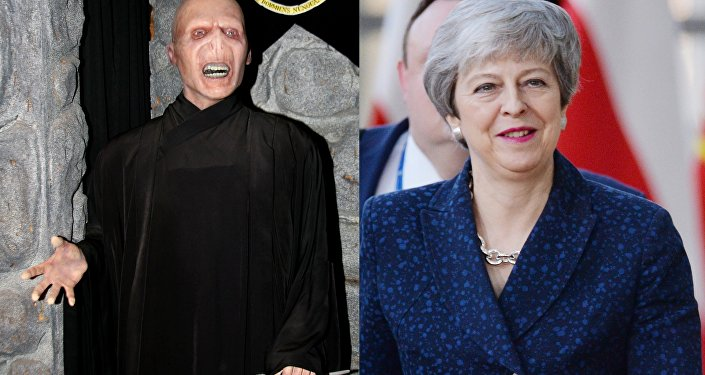 A collage showing fictional character Voldemort (L) and the UK PM Theresa May (R)