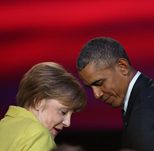 US President Barack Obama and German Chancellor Angela Merkel attend during the official opening ceremony of the Hanover industry Fair at the Hannover Congress Center HCC in Hanover, on April 24, 2016.