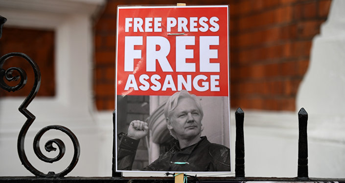 A supporter of WikiLeaks founder Julian Assange holds a placard outside the Ecuadorian Embassy in London on April 5, 2019