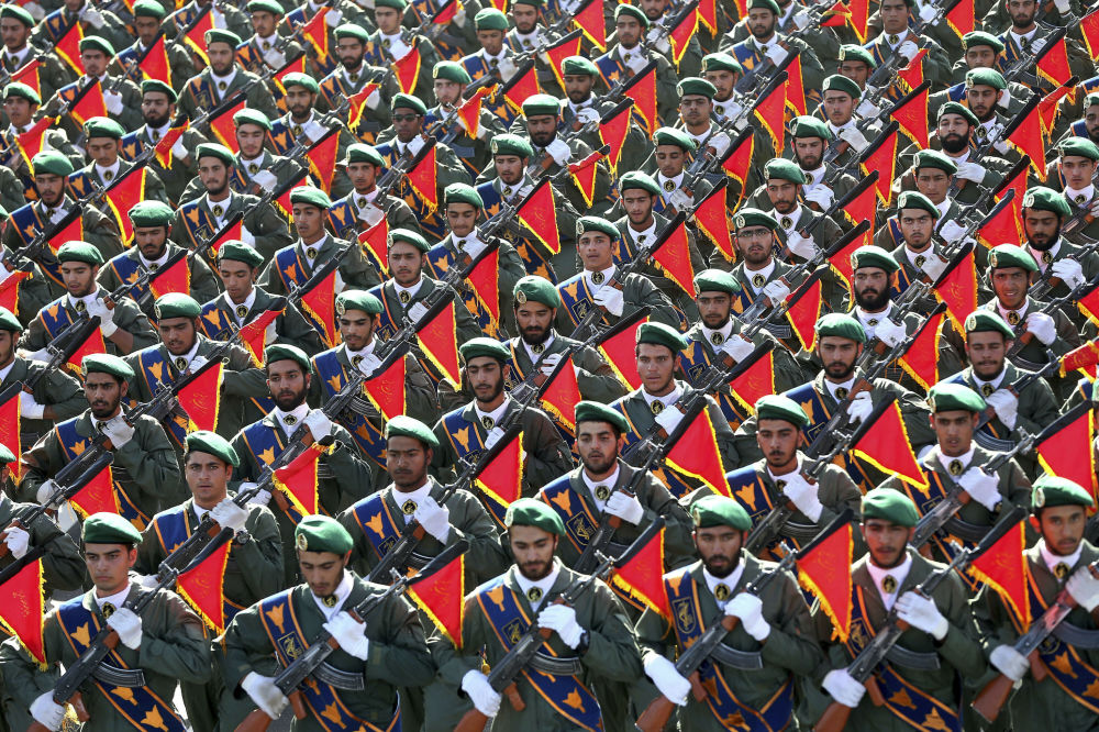 Iran's Revolutionary Guard March During Military Parade