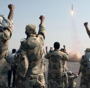 IRGC celebrating missile launch