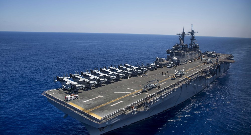 The amphibious assault ship USS Wasp (LHD 1)