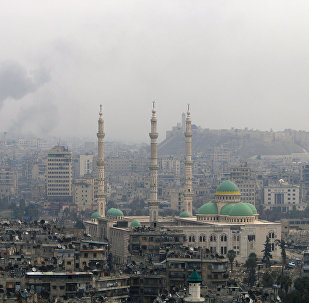 Smoke rises after strikes on Aleppo, Syria