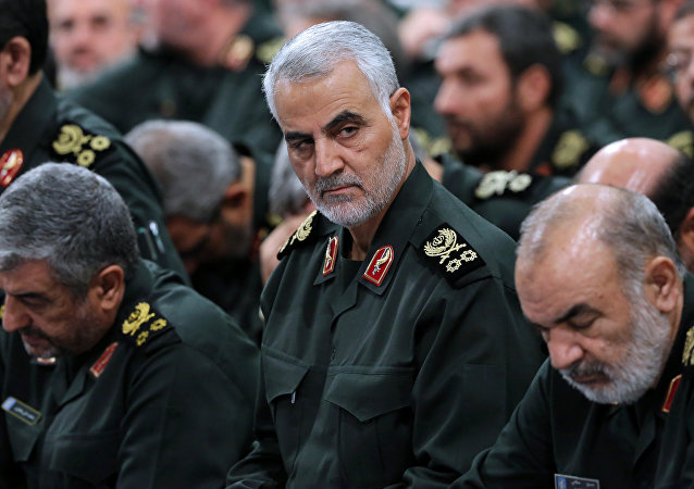 A handout picture released on 18 September, 2016 by the official website of the Centre for Preserving and Publishing the Works of Iran's supreme leader Ayatollah Ali Khamenei shows the Quds Force commander Major General, Qasem Suleimani (C), attending a meeting of Revolutionary Guard's commanders in Tehran
