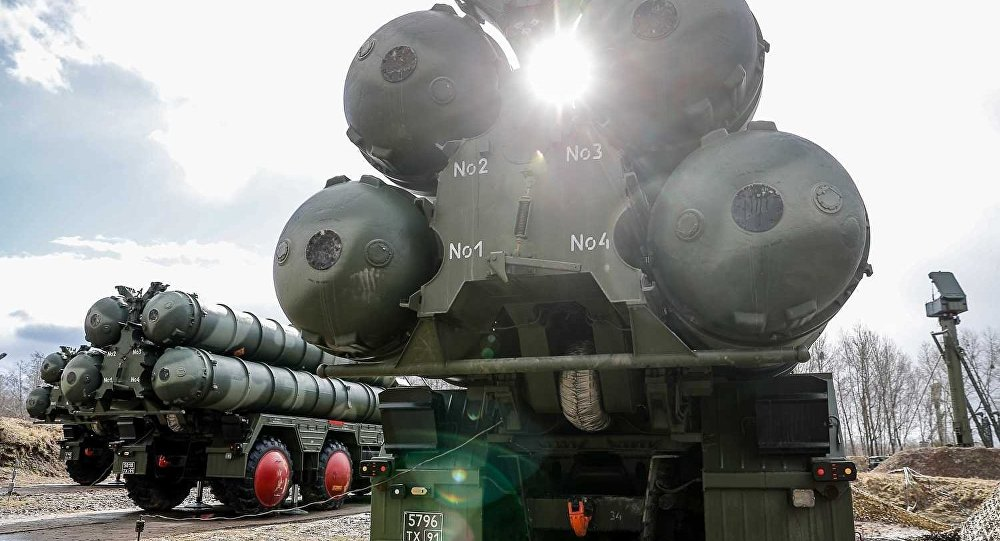 Russian S-400 Triumph missile system launchers are pictured during combat duty at an air defence unit of the Baltic fleet in Kaliningrad region, Russia