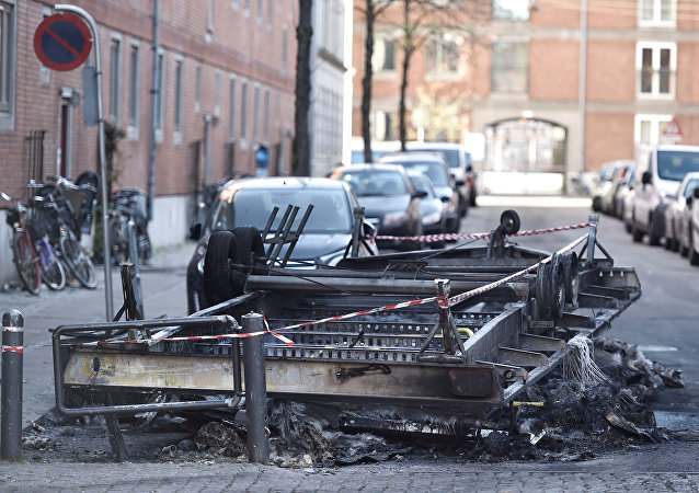 Remains after a fire are seen on Blaagaardsgade, in Copenhagen, Denmark April 15, 2019